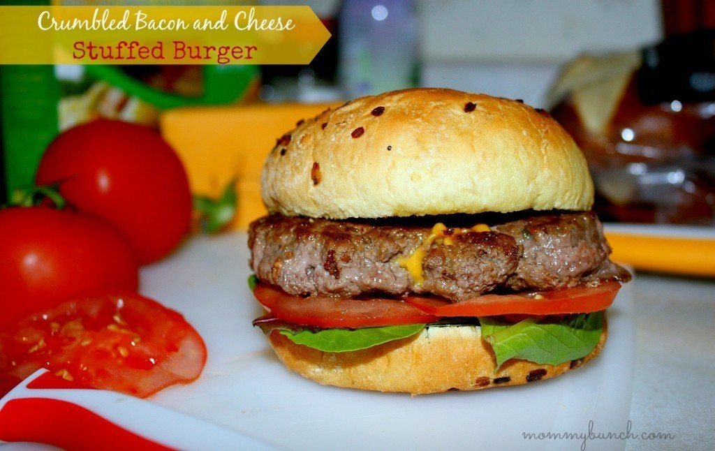 bacon and cheese stuffed burger