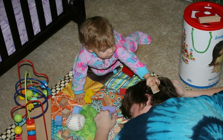 Tired Mom Playing with Kids