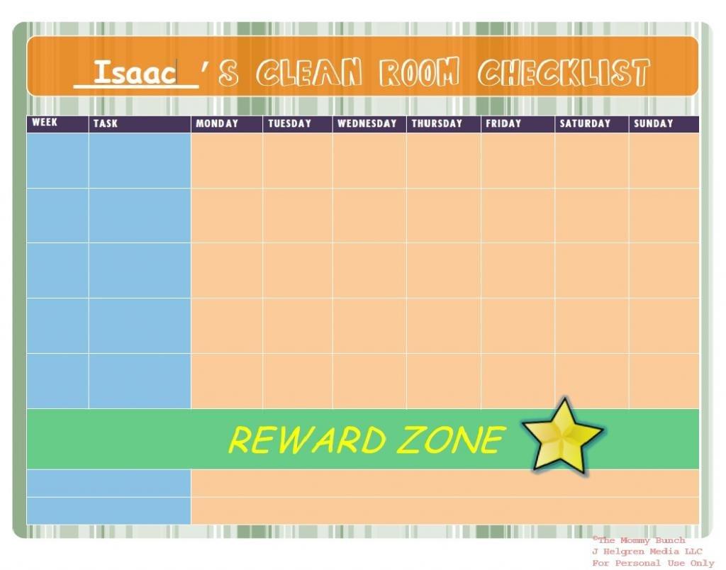 Clean Room Checklist chore chart