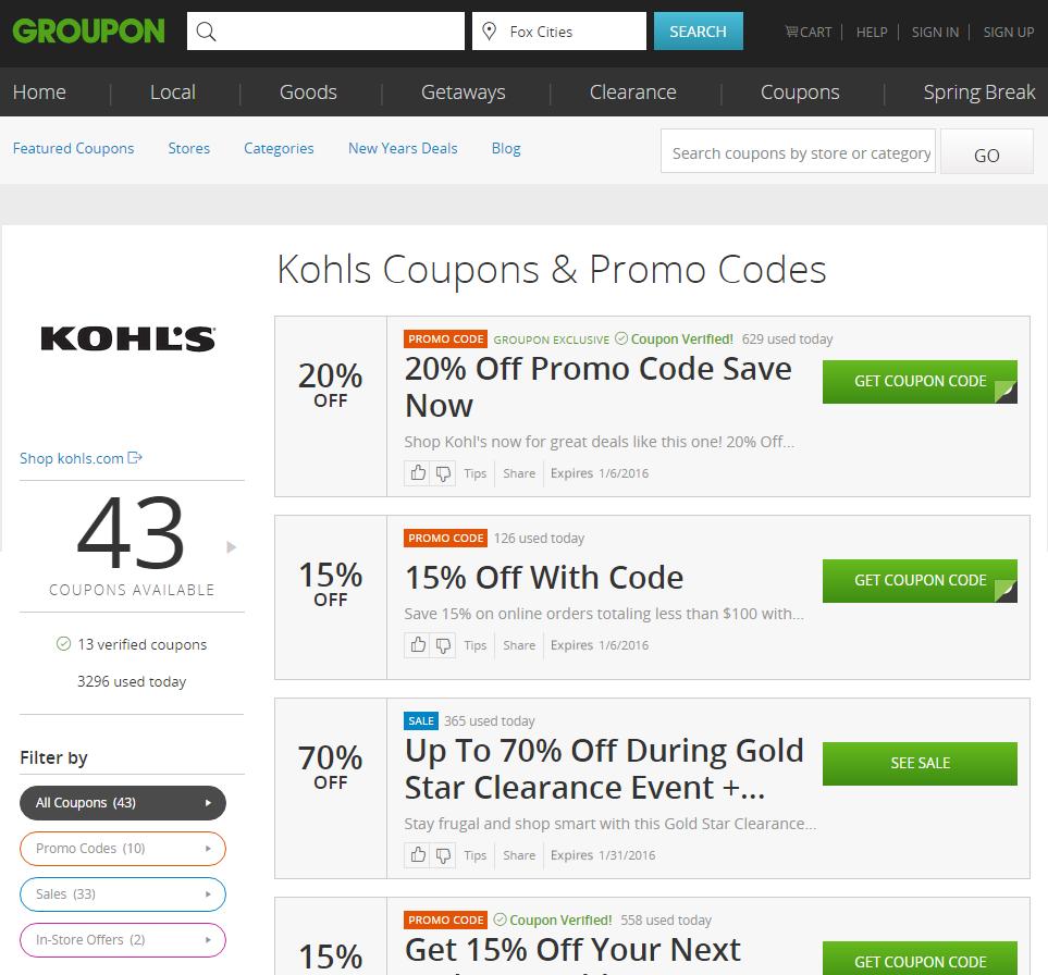 kohls groupon coupon codes
