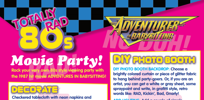 adventures in babysitting rad 80's party