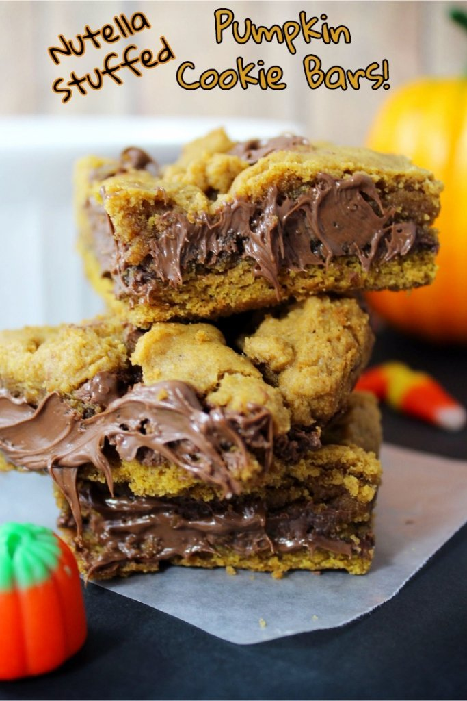 Pumpkin Cookie Bars Recipe with Nutella Stuffed Centers!