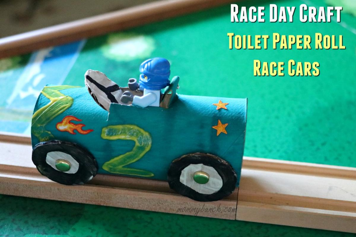 race car crafts for kids-toilet-paper-roll-race-cars