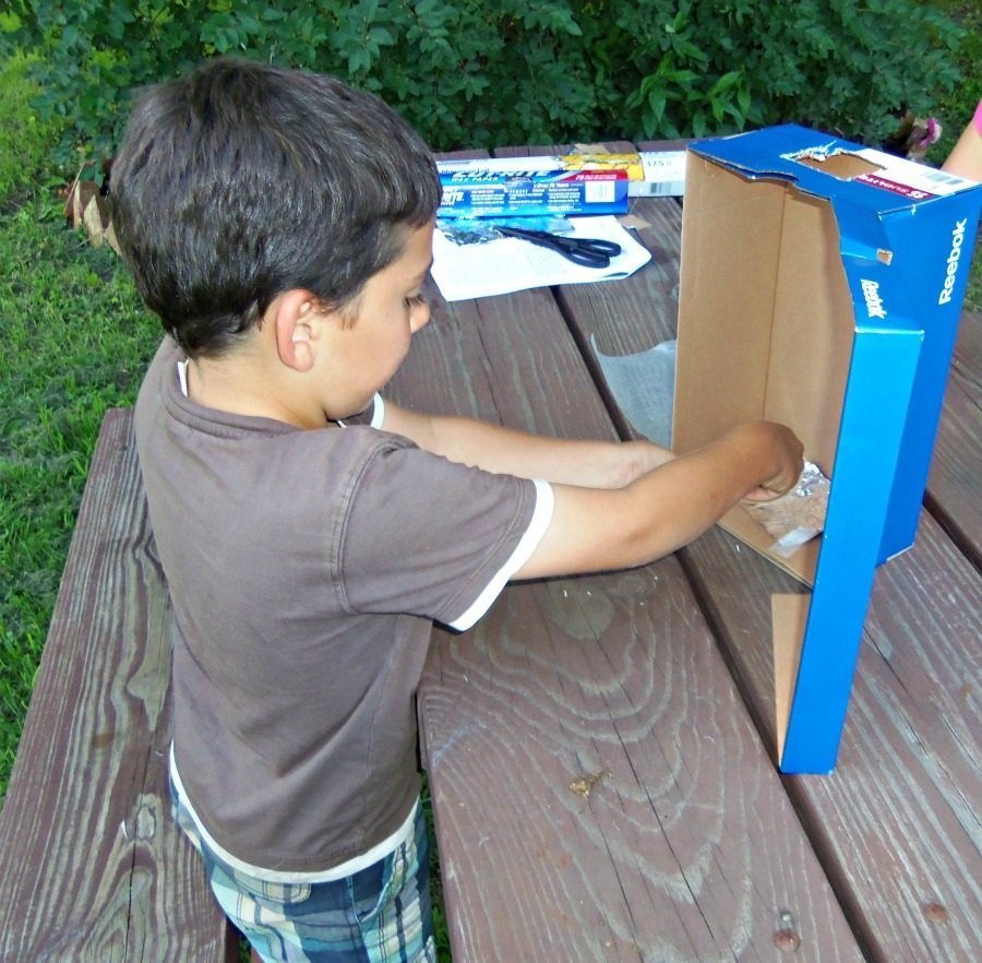 Austin constructing the pinhole viewer