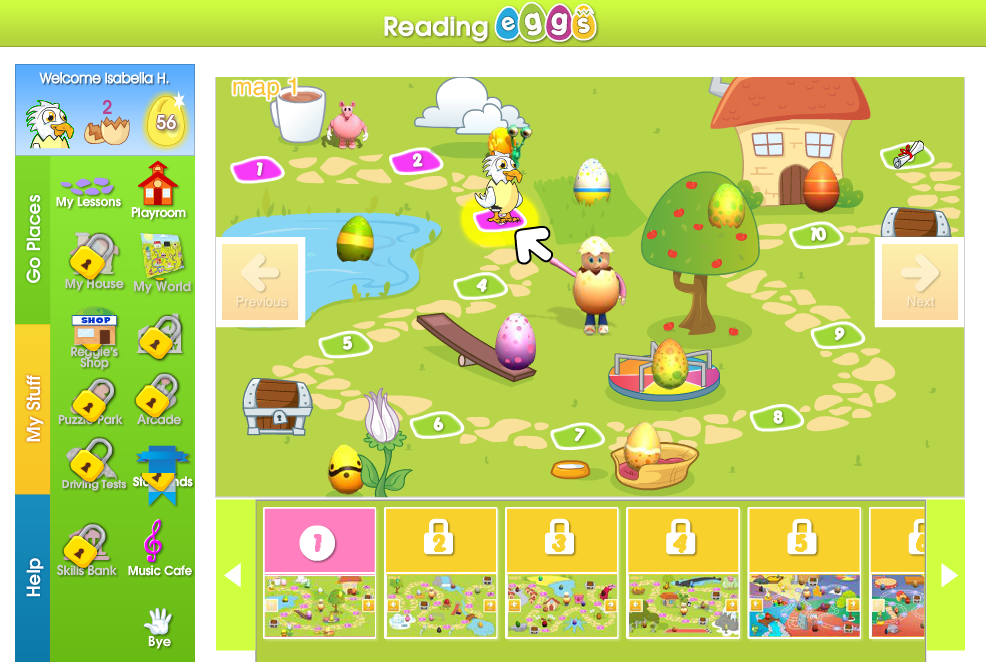 reading eggs map