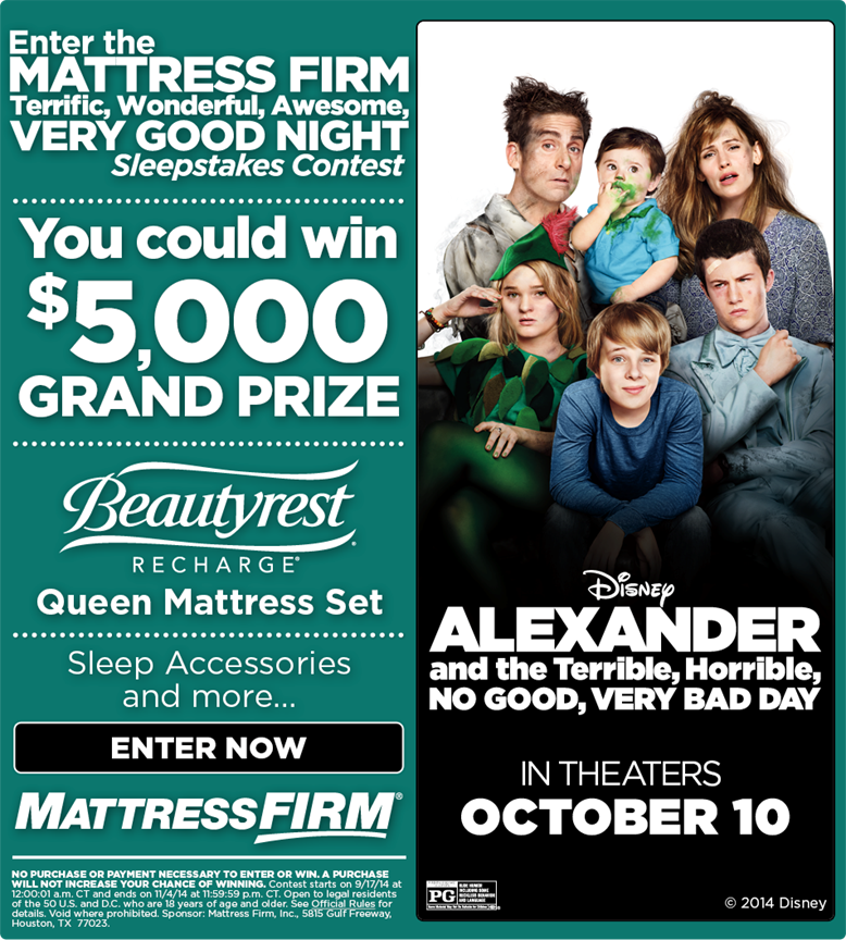 $5000 Grand Prize mattress giveaway plus BONUS memory foam gel pillow giveaway!