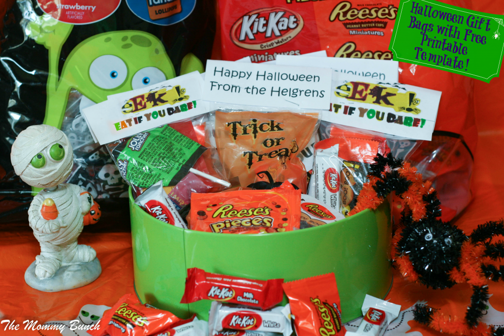 Easy Halloween Trick Or Treat Bags with Free Printable Gift Tag