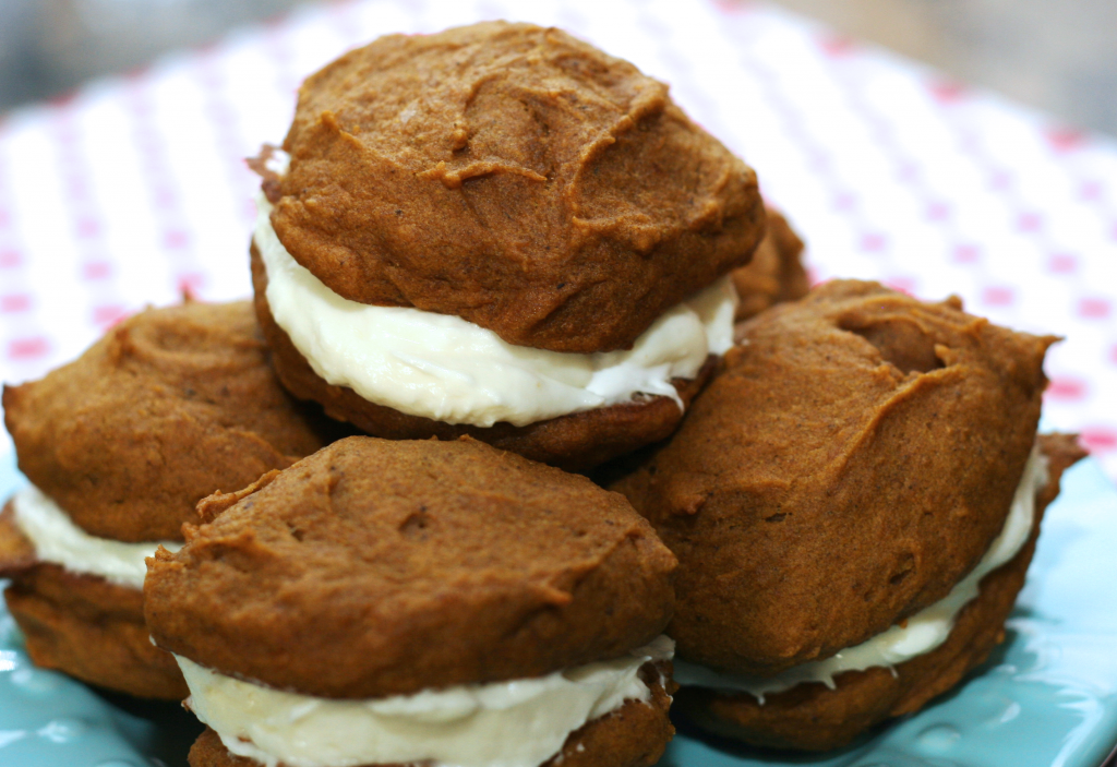 Pumpkin Whoopie Pies with Marshmallow Cream Cheese Centers