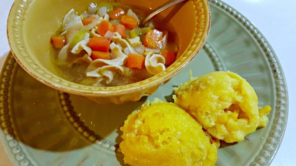 corn cake and soup