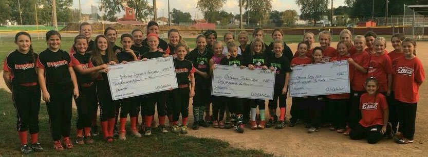 Community Connections donation to Ottumwa Edge, Shakers, Dynamite Softball Clubs
