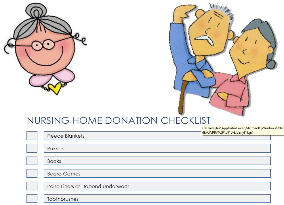 Printable screenshot nursing home checklist