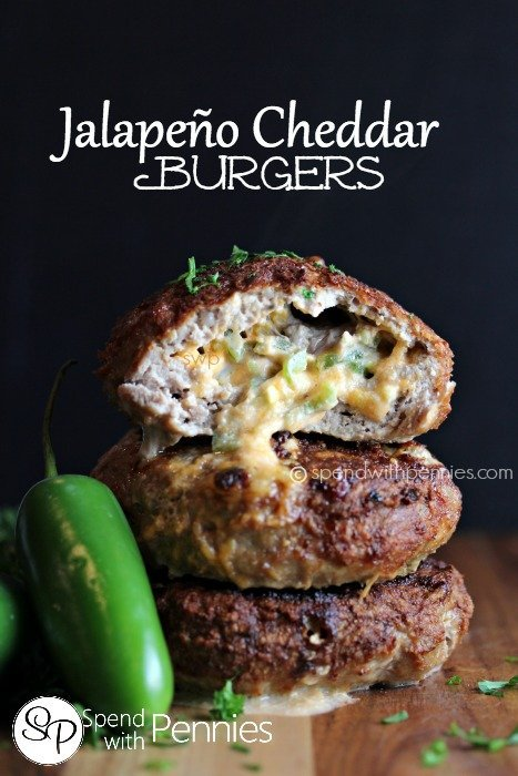 jalepeno cheddar burgers for grilling in summer