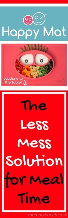 The Less Mess Meal Time Solution that takes the stress out of a messy toddler meal - because there is less mess to worry about! Ezpz silicone placemats have the bowls and plates built right in for less messes!