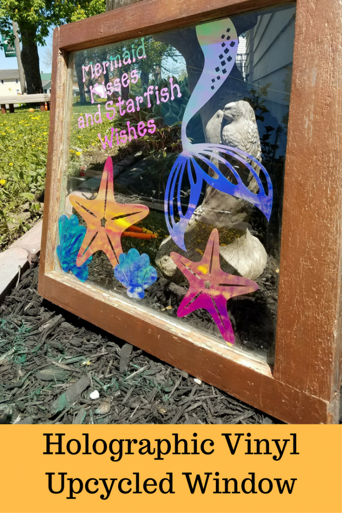 See how to make this upcycled window with the new Cricut holographic vinyl. A little spray paint, your Cricut Explore, and some vinyl and you've got a great DIY piece for your home or garden!