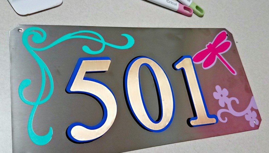Stylish DIY House Numbers Made with a Cricut Explore Air and Cricut Foil