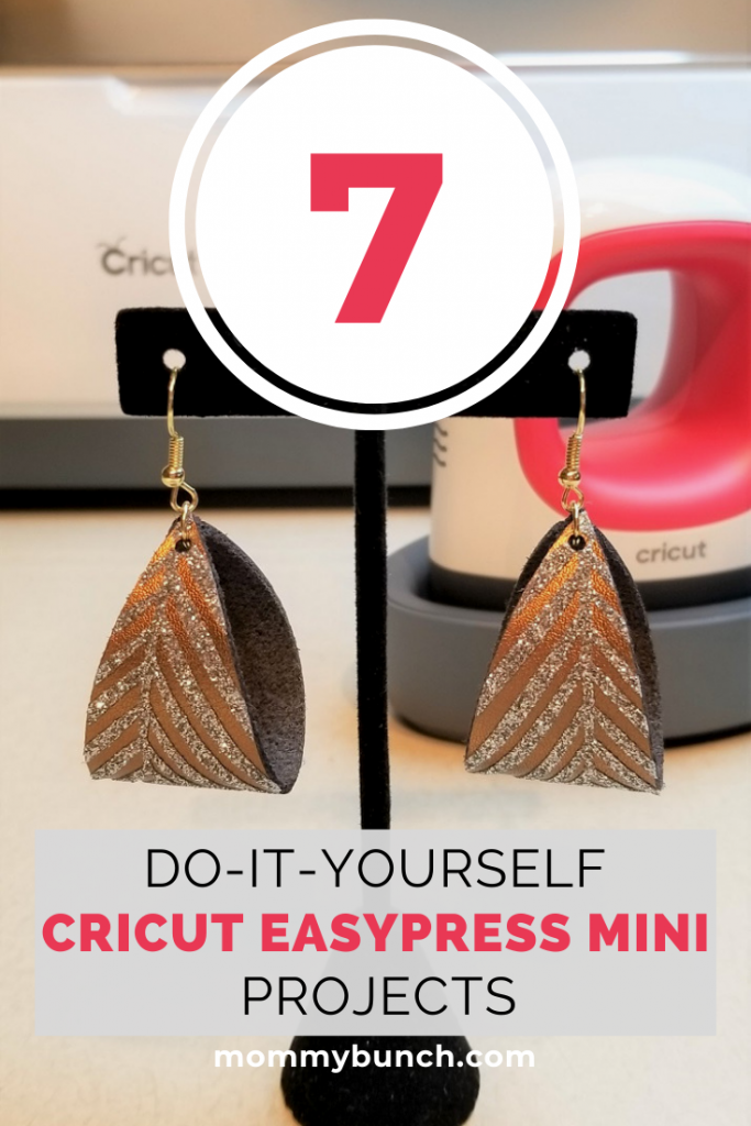 Use your Cricut EasyPress Mini to make elegant earrings, cute baby gear, doll clothes, and more! See all these fun projects by clicking the image! See step by step instructions on how to make these fun DIY leather earrings with a heat transfer vinyl palm design.