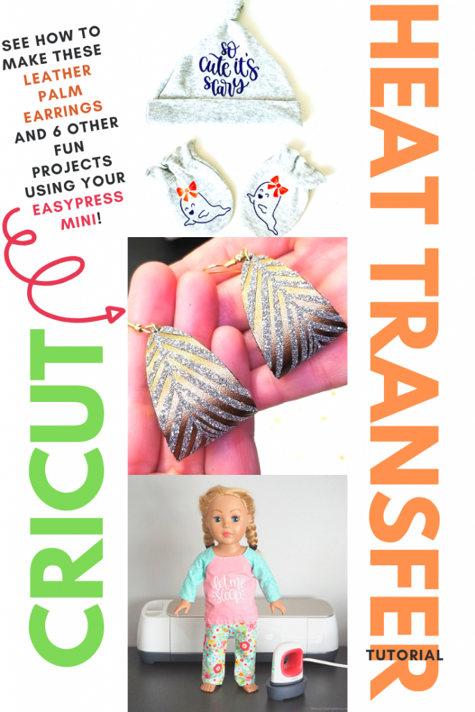 See step by step instructions on how to make DIY leather earrings with a heat transfer vinyl palm design. Use your Cricut EasyPress Mini to make elegant earrings, cute baby gear, doll clothes, and more! See all these fun projects by clicking the image!