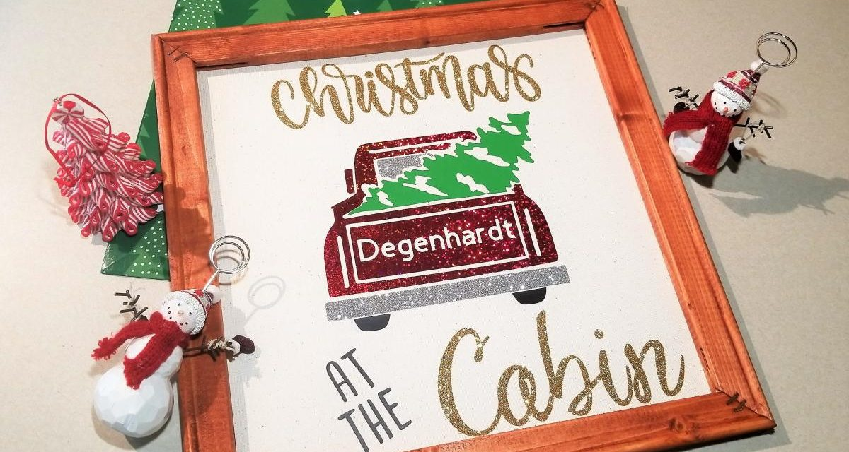 Christmas Cabin Reverse Canvas with Cricut Maker – Cut File Included